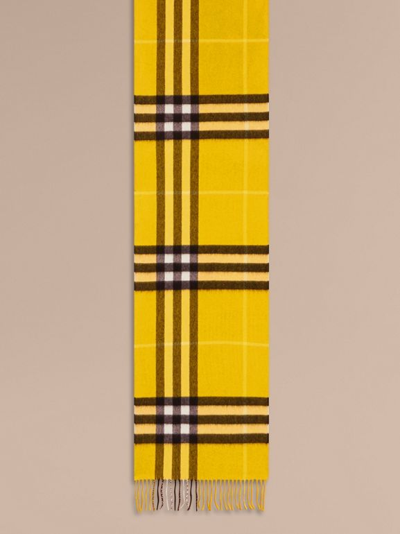 The Classic Check Cashmere Scarf in Gorse Yellow | Burberry - cell image 1