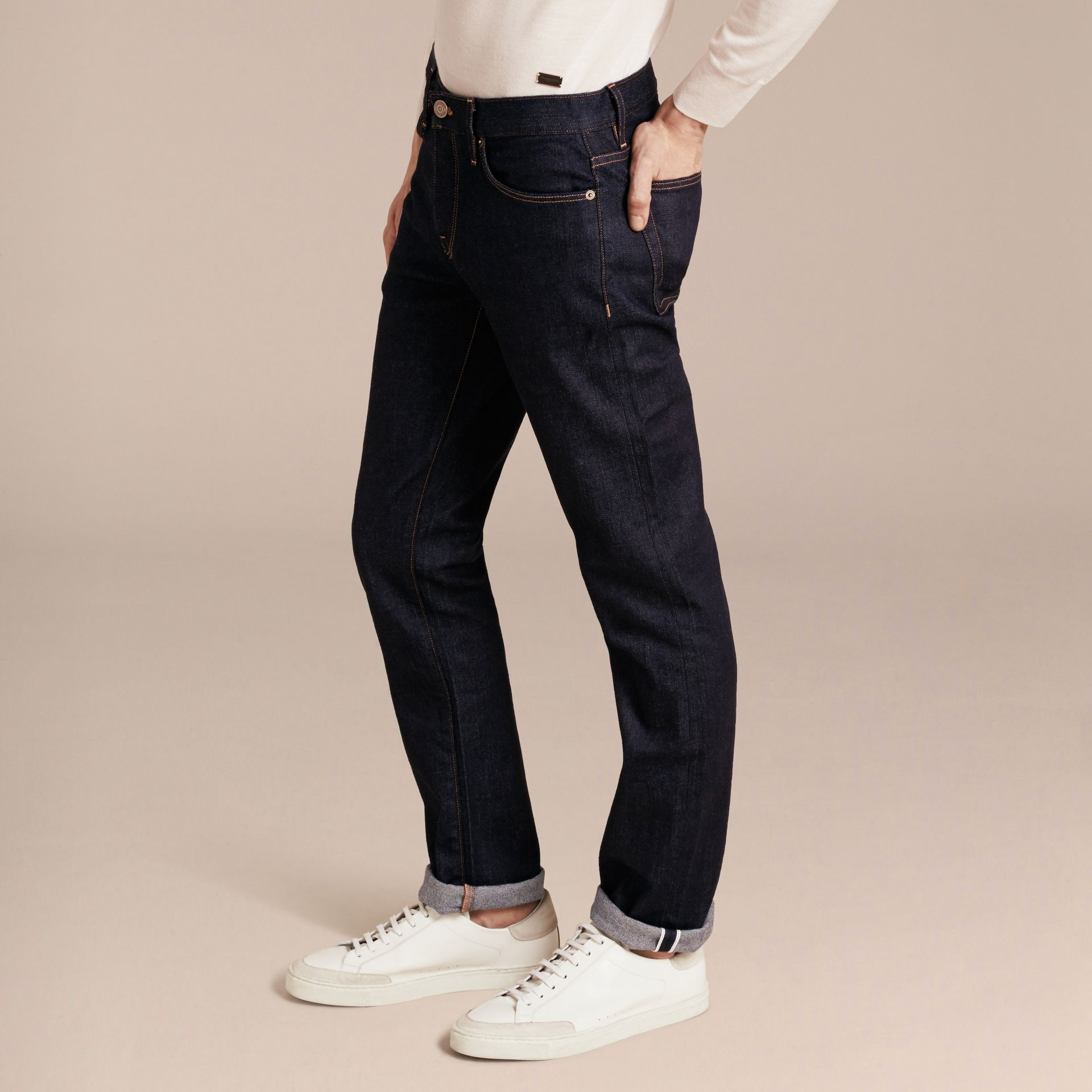 Straight Fit Stretch Japanese Selvedge Denim Jeans in Dark Indigo - Men | Burberry - gallery image 6