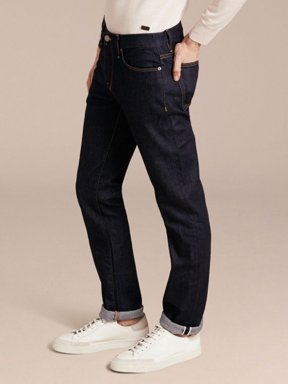 Straight Fit Stretch Japanese Selvedge Denim Jeans - Men | Burberry