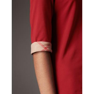 Burberry - Haut en coton extensible avec revers à motif check - 2