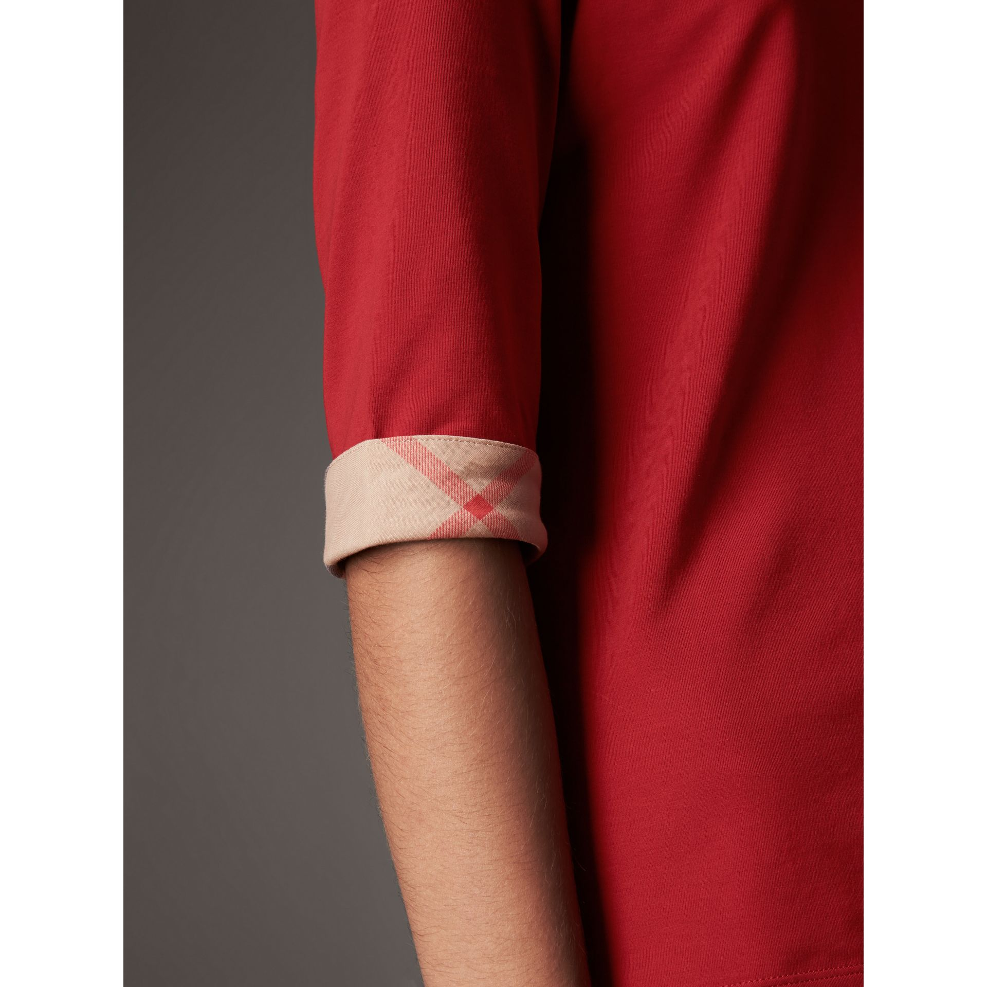 Check Cuff Stretch-Cotton Top in Lacquer Red - Women | Burberry Canada - gallery image 2