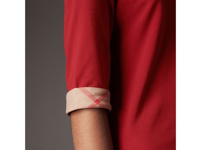 Check Cuff Stretch-Cotton Top in Lacquer Red - Women | Burberry - cell image 1