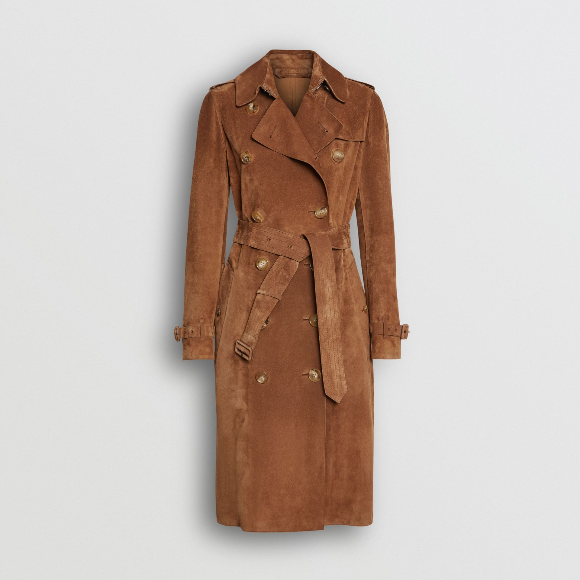 Suede Trench Coat in Sepia Brown - Women | Burberry - gallery image 3