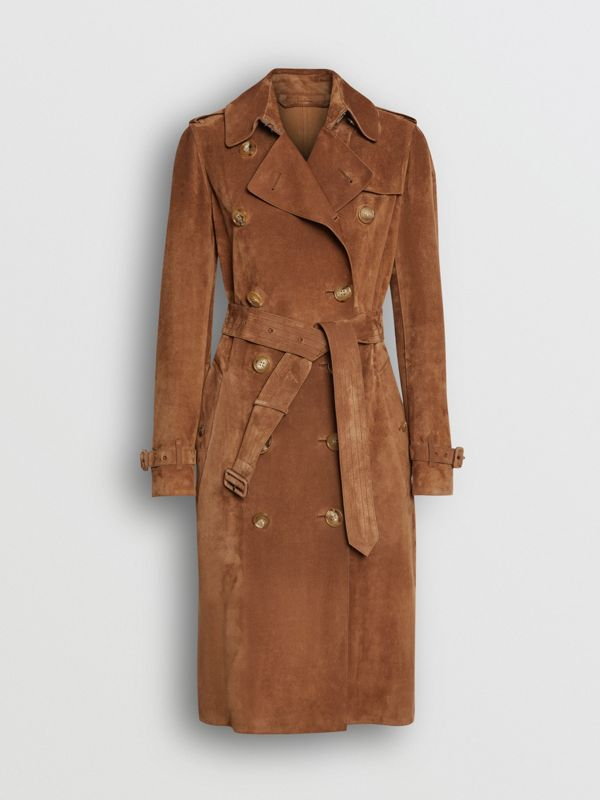Suede Trench Coat in Sepia Brown - Women | Burberry - cell image 3