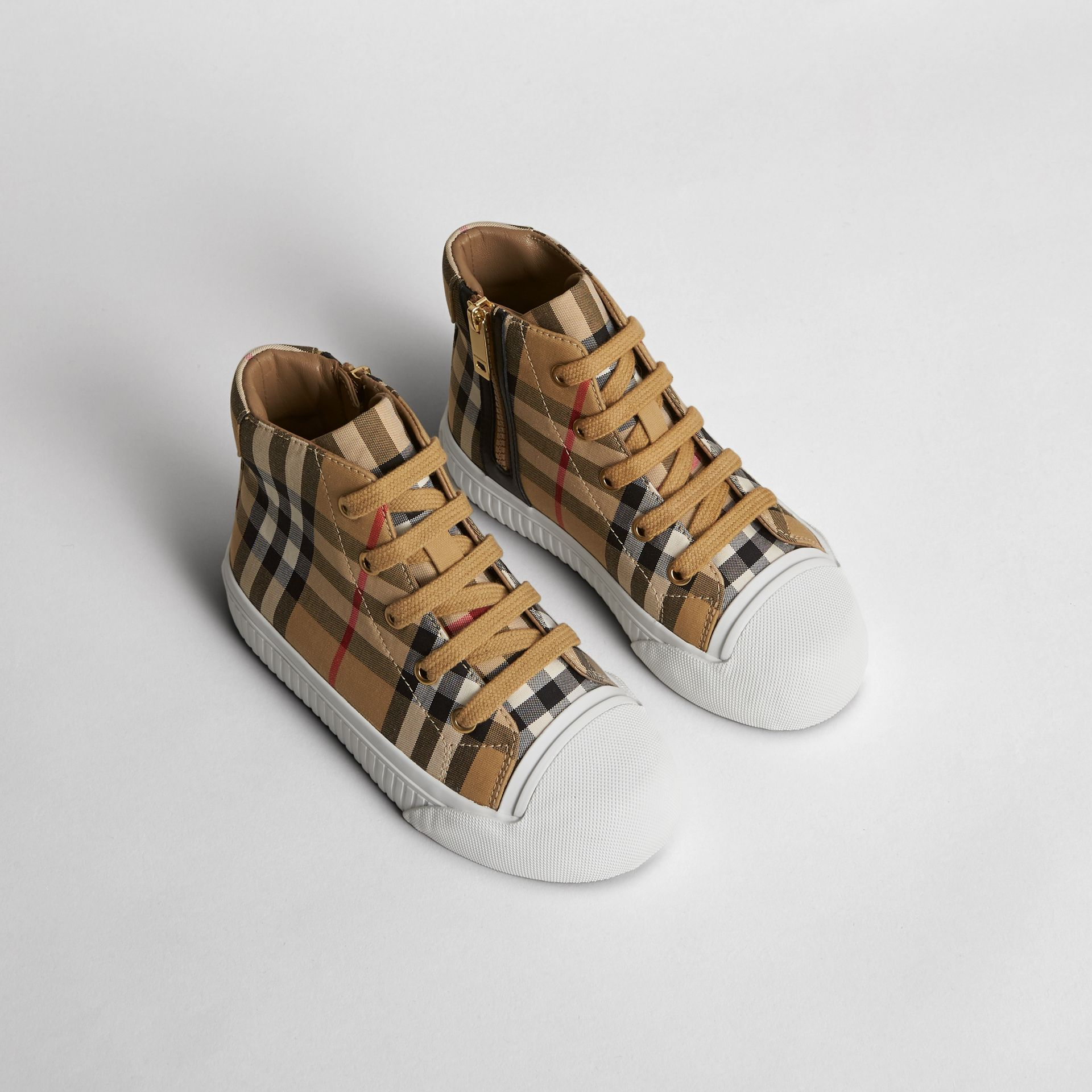 Vintage Check and Leather High-top Sneakers in Antique Yellow/optic White | Burberry United Kingdom - gallery image 0