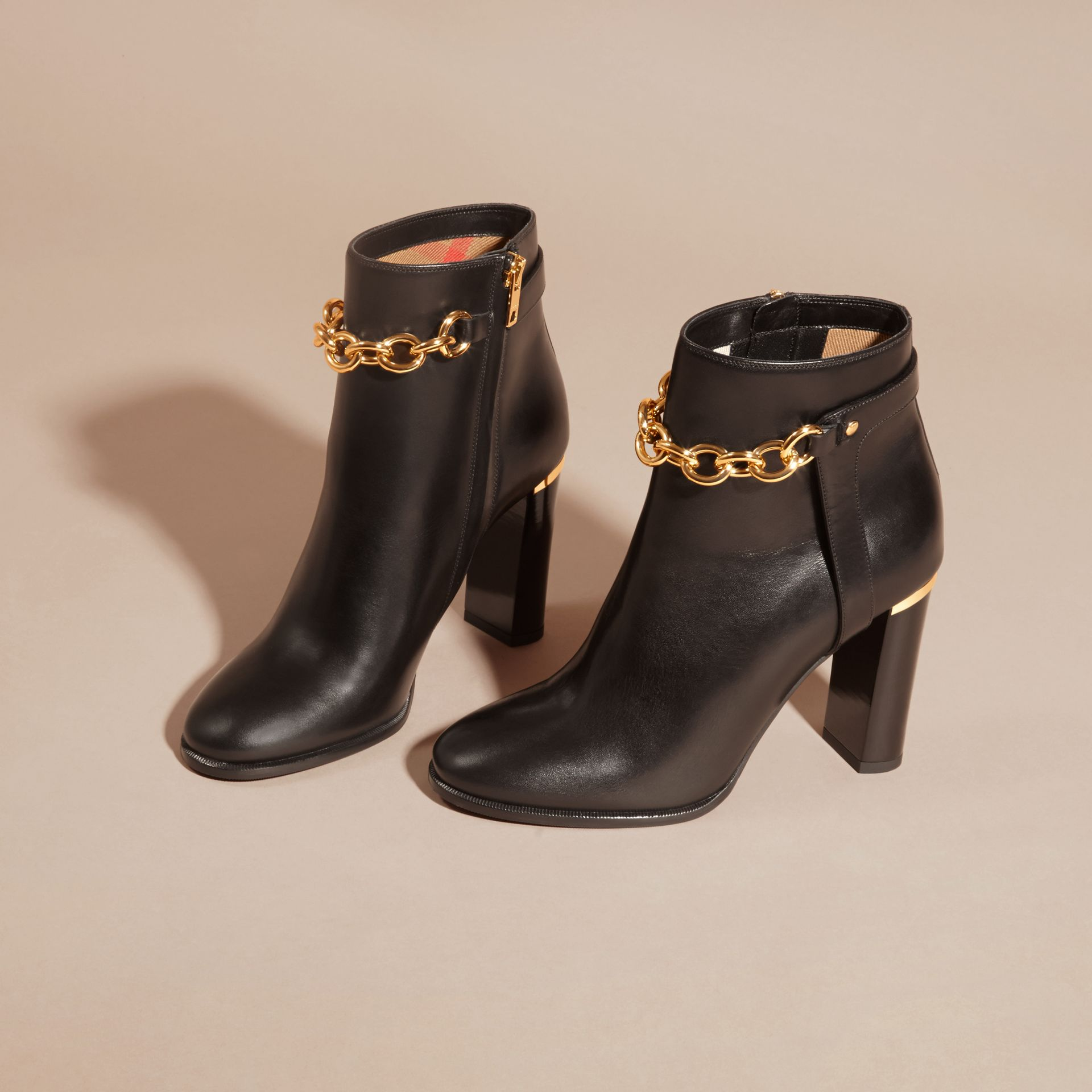 Black Leather Ankle Boots with Metal Chain - gallery image 3