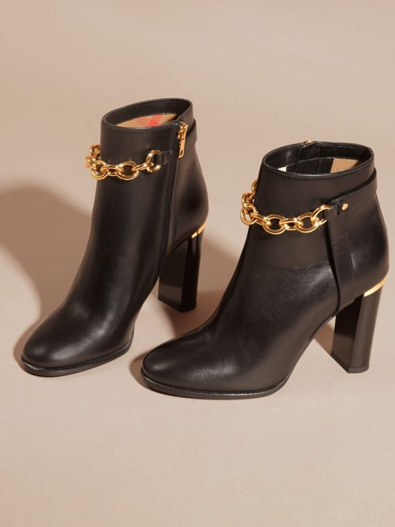 Black Leather Ankle Boots with Metal Chain - cell image 2