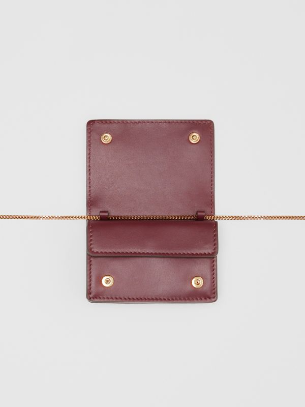 Monogram Leather Card Case with Detachable Strap in Oxblood - Women | Burberry - cell image 3