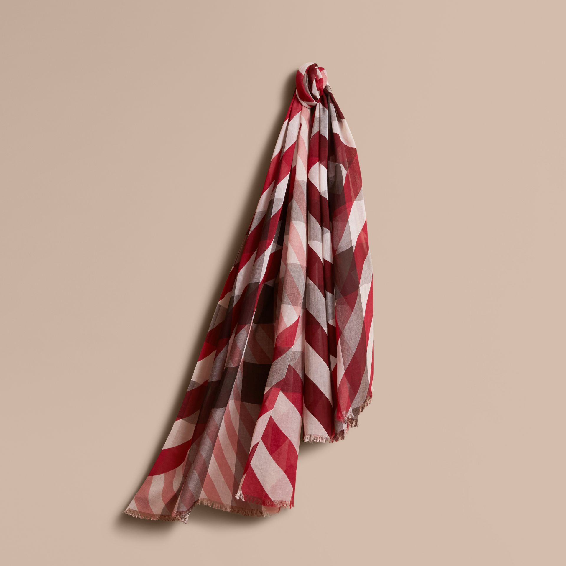 Check and Stripe Modal Cashmere Silk Scarf in Mauve Pink/stone - Women | Burberry - gallery image 1