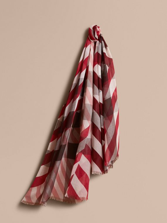 Check and Stripe Modal Cashmere Silk Scarf in Mauve Pink/stone