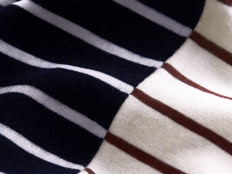 Contrast Stripe Cashmere Blend Sweater in Navy - Men | Burberry - cell image 1