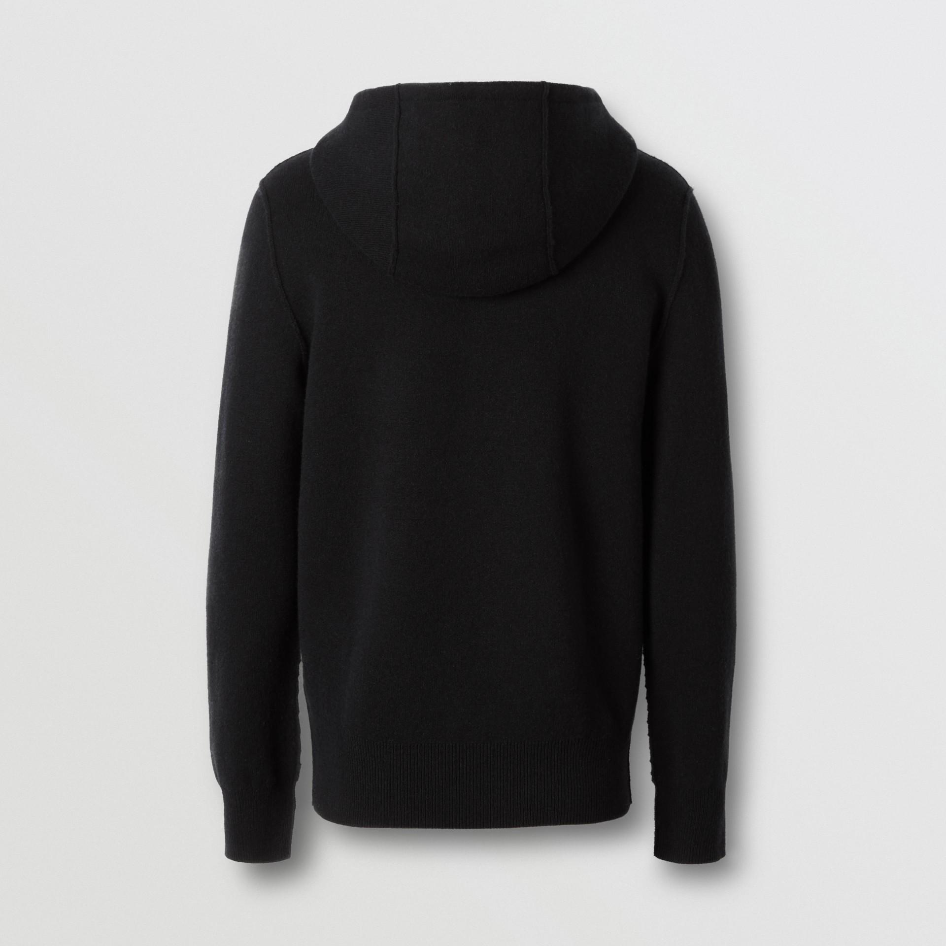 Haut à capuche en cachemire mélangé Monogram (Noir) - Homme | Burberry - photo de la galerie 5