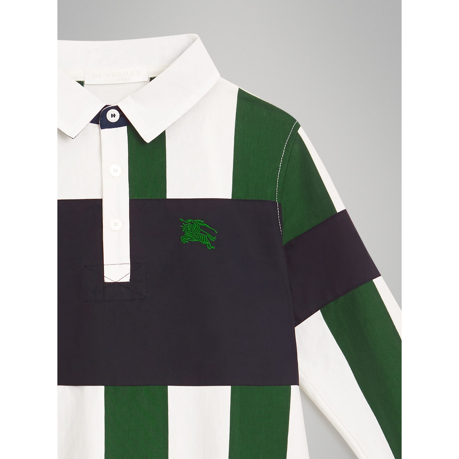 Long-sleeve Striped Cotton Polo Shirt in Racing Green/white | Burberry - gallery image 4