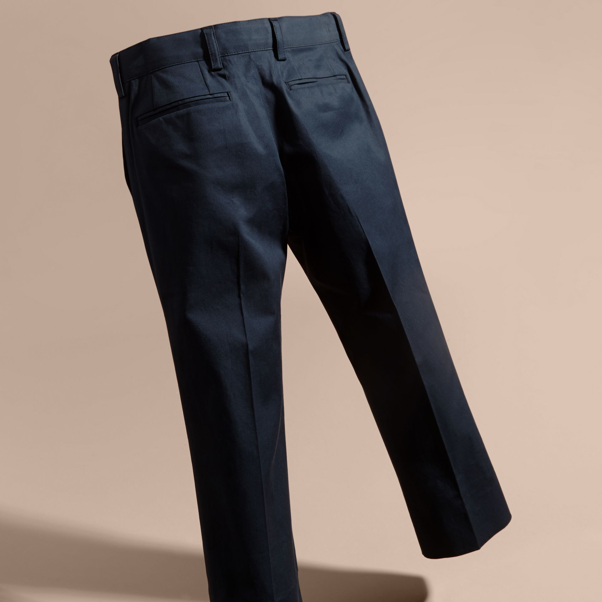 Tailored Stretch Cotton Trousers in Navy | Burberry - gallery image 4