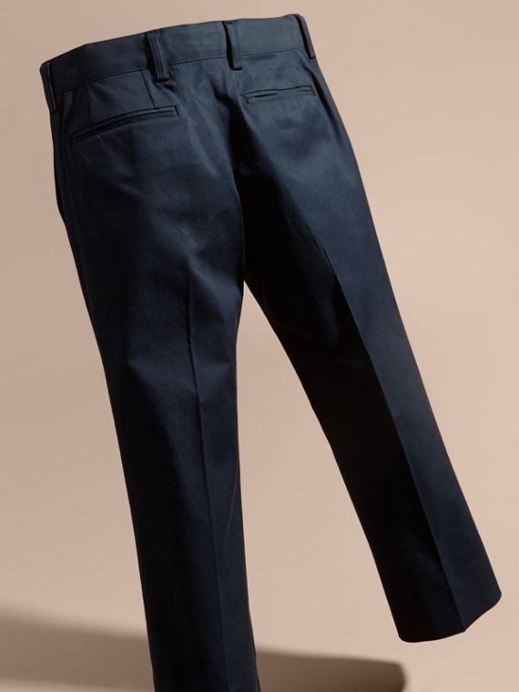 Tailored Stretch Cotton Trousers in Navy | Burberry - cell image 3