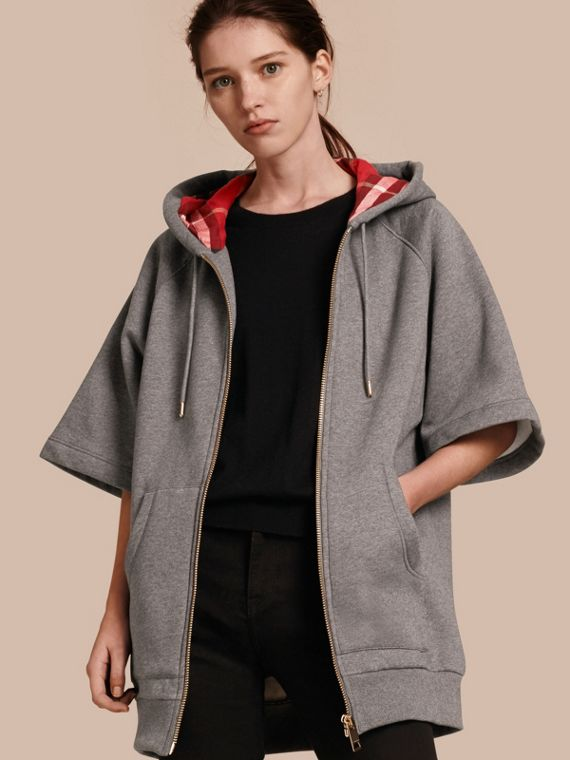 Zip-front Oversize Cotton Jersey Sweatshirt with Hood Mid Grey Melange