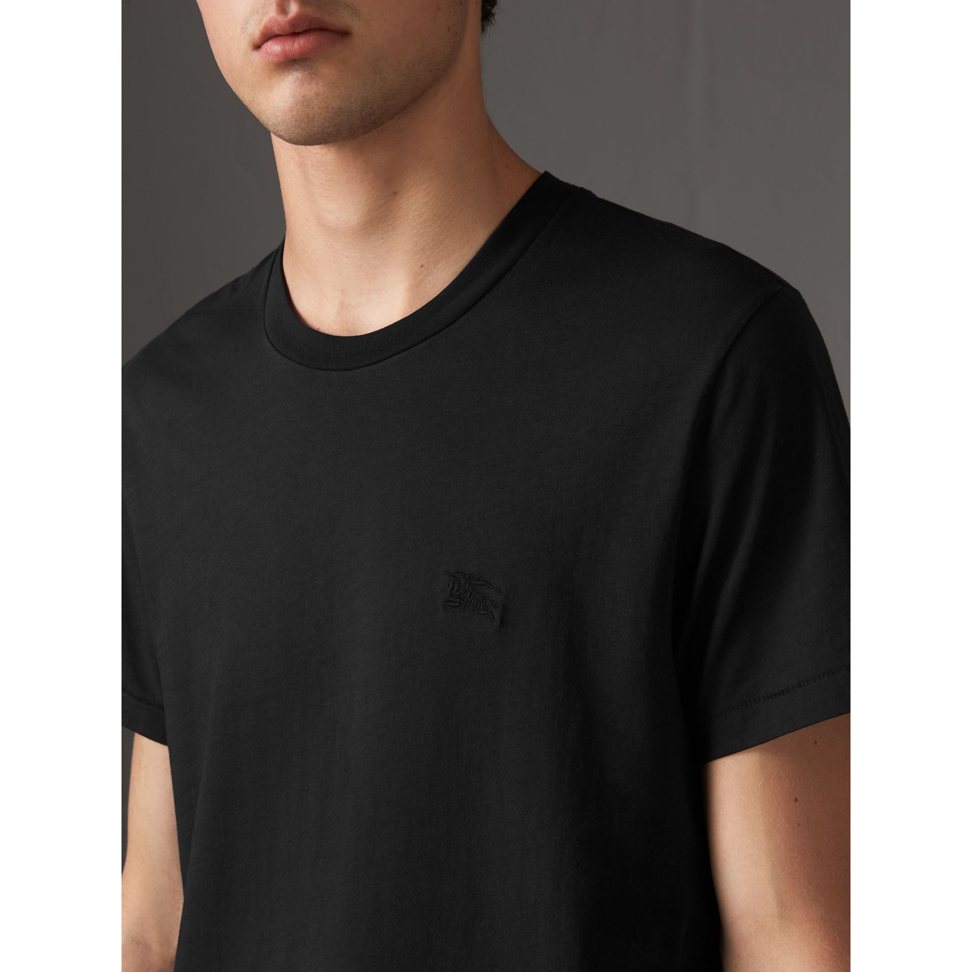 Cotton Jersey T-shirt in Black - Men | Burberry - gallery image 1