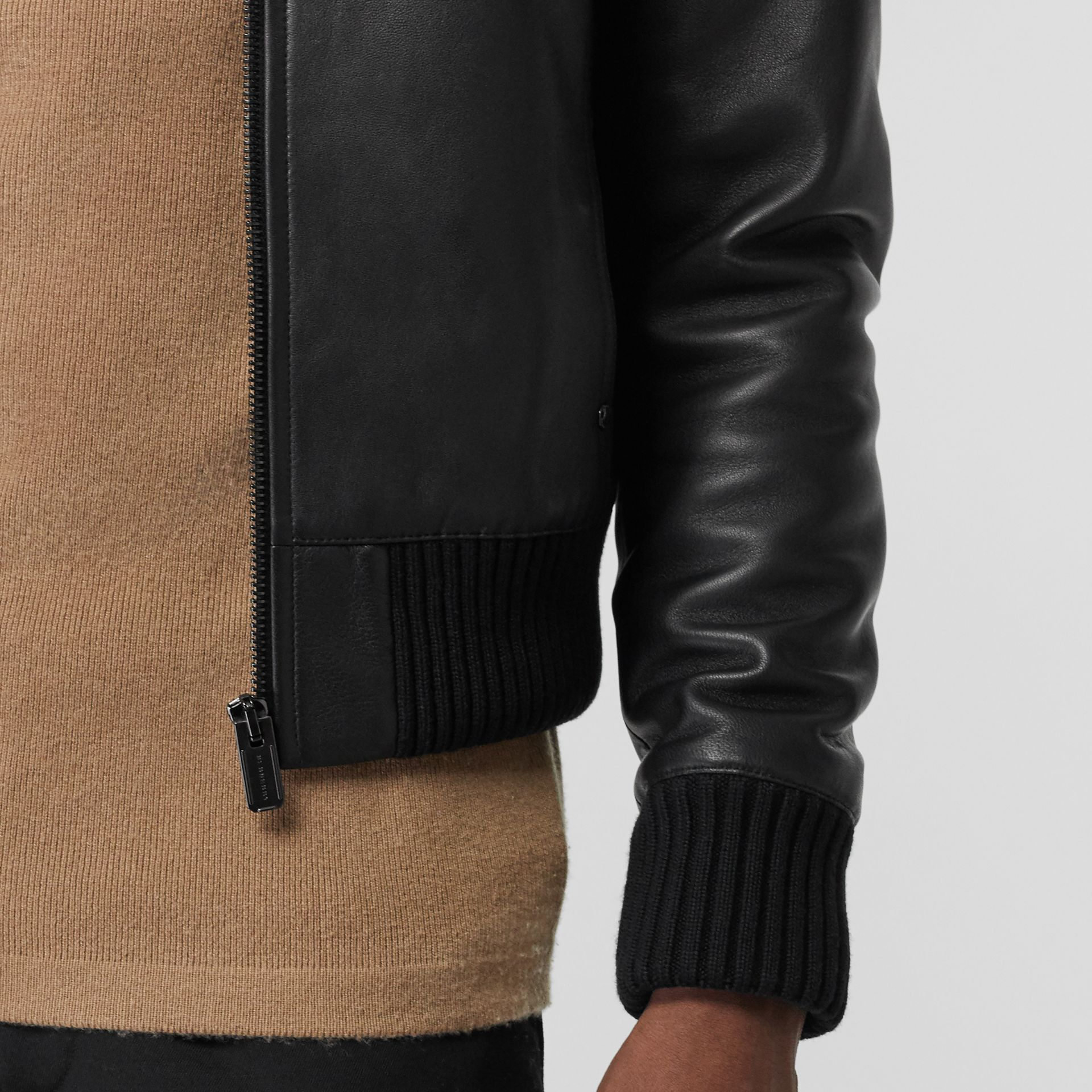 Detachable Collar Lambskin Bomber Jacket in Black - Men | Burberry - gallery image 4