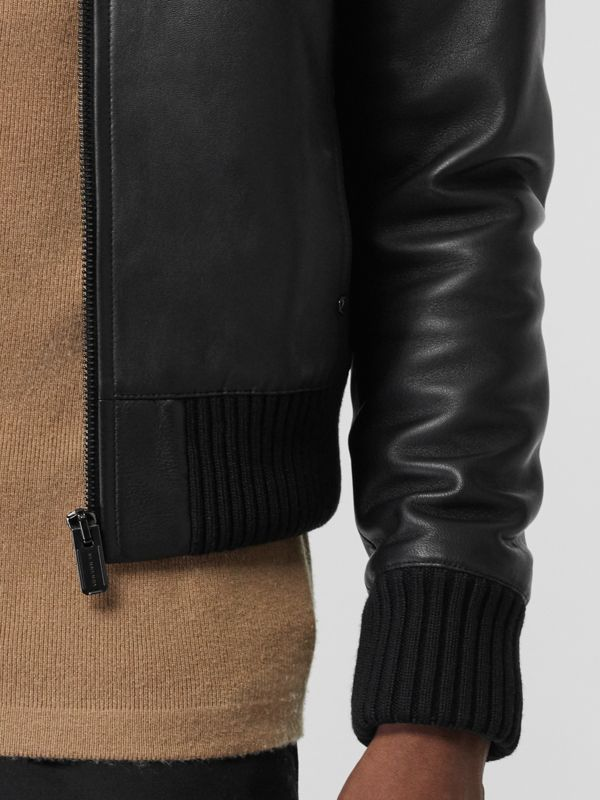 Detachable Collar Lambskin Bomber Jacket in Black - Men | Burberry United Kingdom - cell image 3