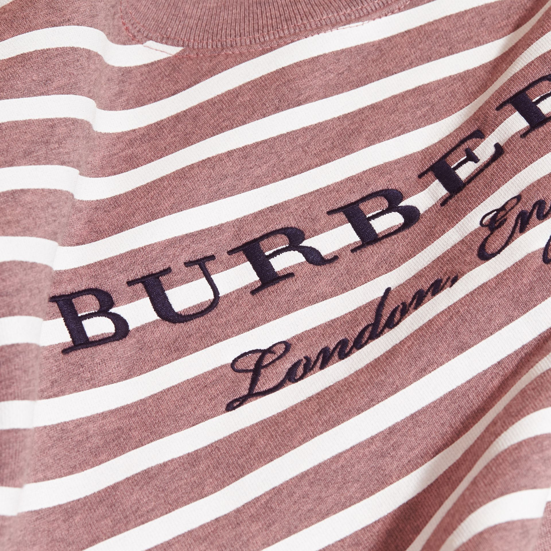 Striped Cotton Sweatshirt in Pink Azalea Melange | Burberry - gallery image 2