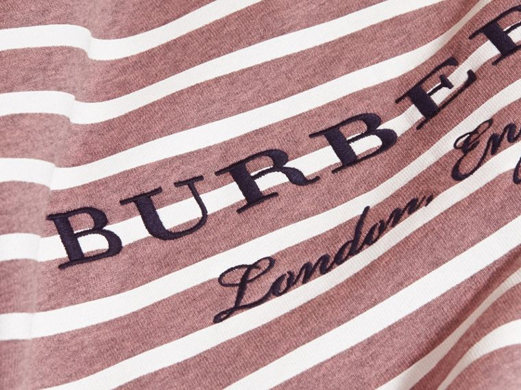 Striped Cotton Sweatshirt in Pink Azalea Melange | Burberry - cell image 1