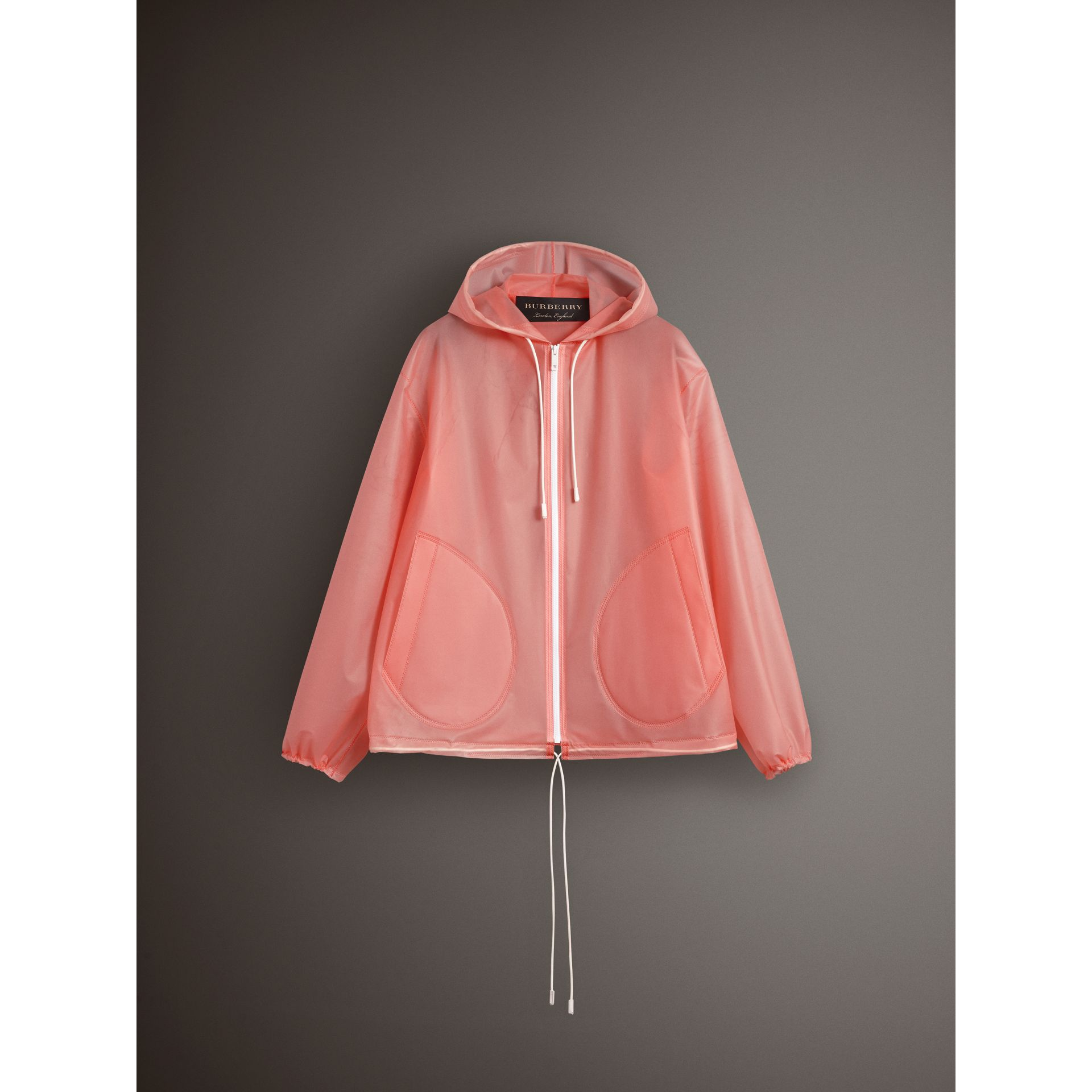 Soft-touch Plastic Cagoule in Rose Pink - Women | Burberry - gallery image 4