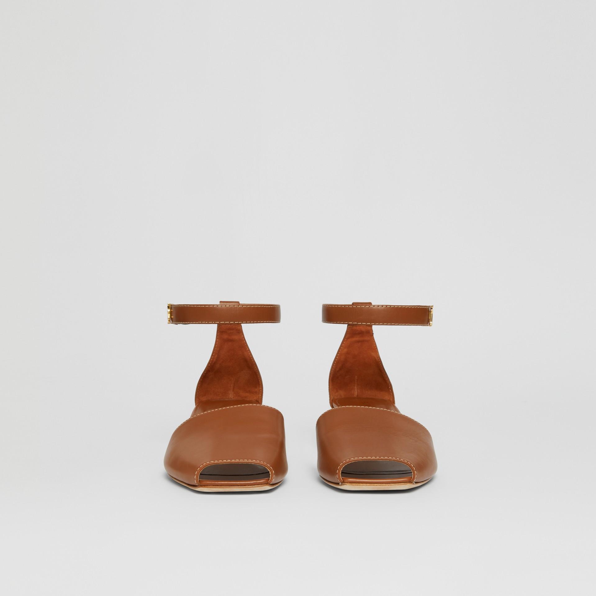 Monogram Motif Leather Kitten-heel Sandals in Tan - Women | Burberry - gallery image 3