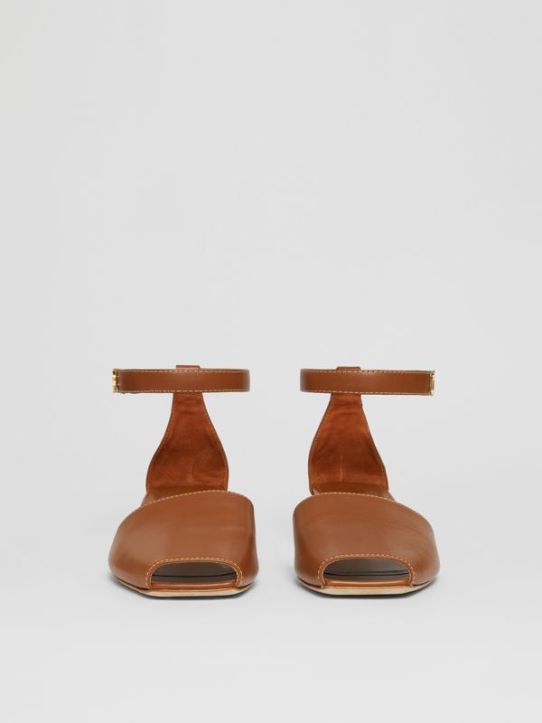 Monogram Motif Leather Kitten-heel Sandals in Tan - Women | Burberry Hong Kong - cell image 3