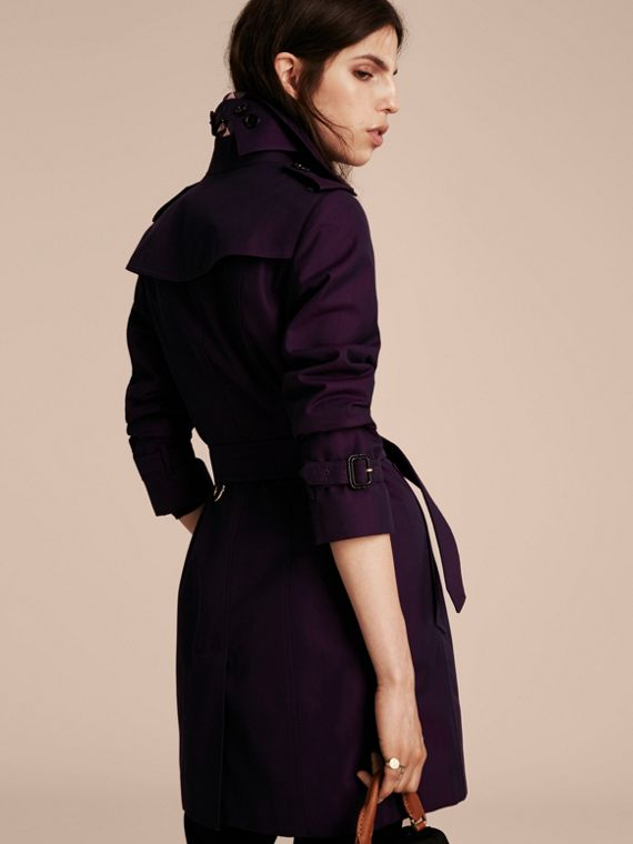 Dark purple Cotton Gabardine Trench Coat Dark Purple - cell image 2