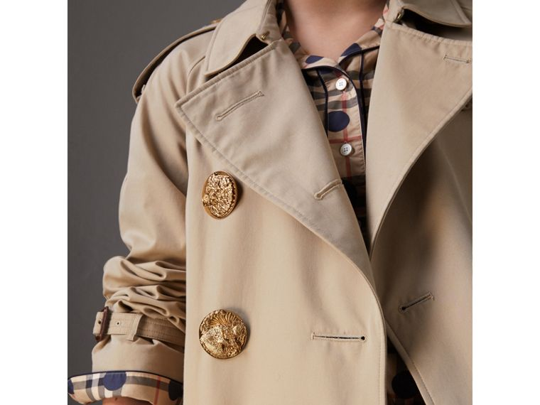 Bird Button Cotton Gabardine Trench Coat in Honey - Women | Burberry - cell image 1