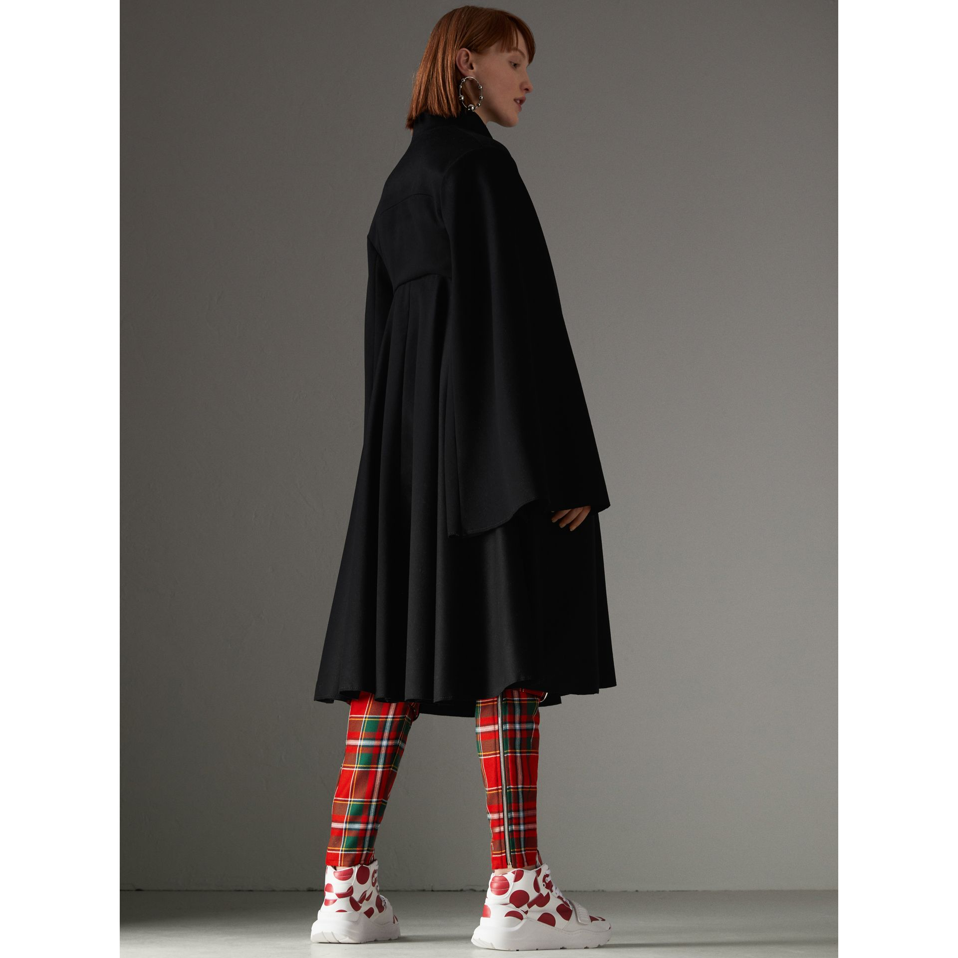 Tailored Doeskin Wool Cape in Black - Women | Burberry Canada - gallery image 2