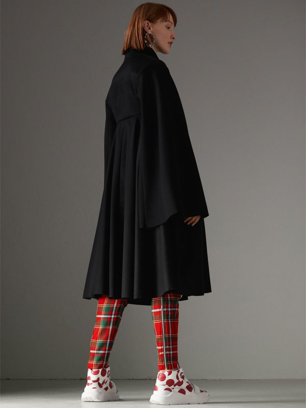 Tailored Doeskin Wool Cape in Black - Women | Burberry Canada - cell image 2