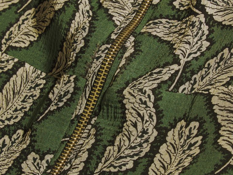 Dusty green Leaf Print Silk Midi Dress - cell image 1