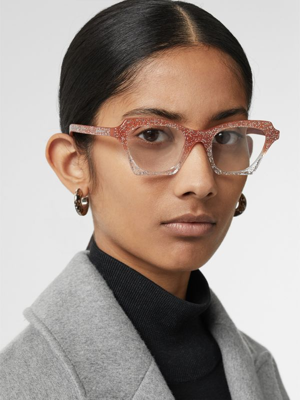 Glitter Detail Butterfly Optical Frames in Peach - Women | Burberry - cell image 2