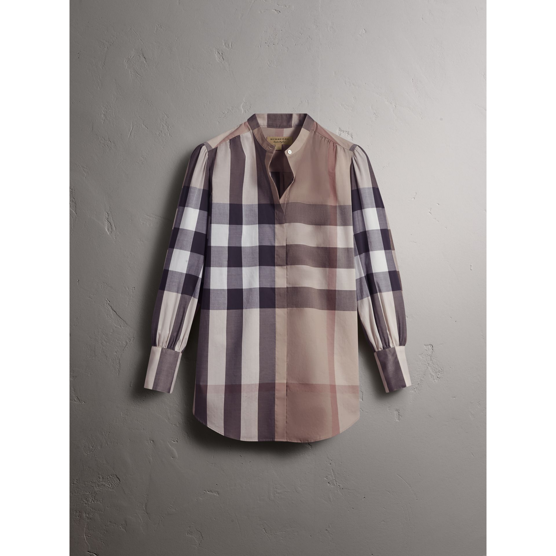 Grandad Collar Check Cotton Tunic Shirt in Pale Stone - Women | Burberry United Kingdom - gallery image 4