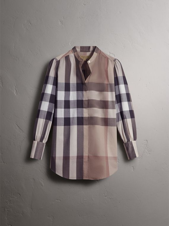 Grandad Collar Check Cotton Tunic Shirt in Pale Stone - Women | Burberry - cell image 3