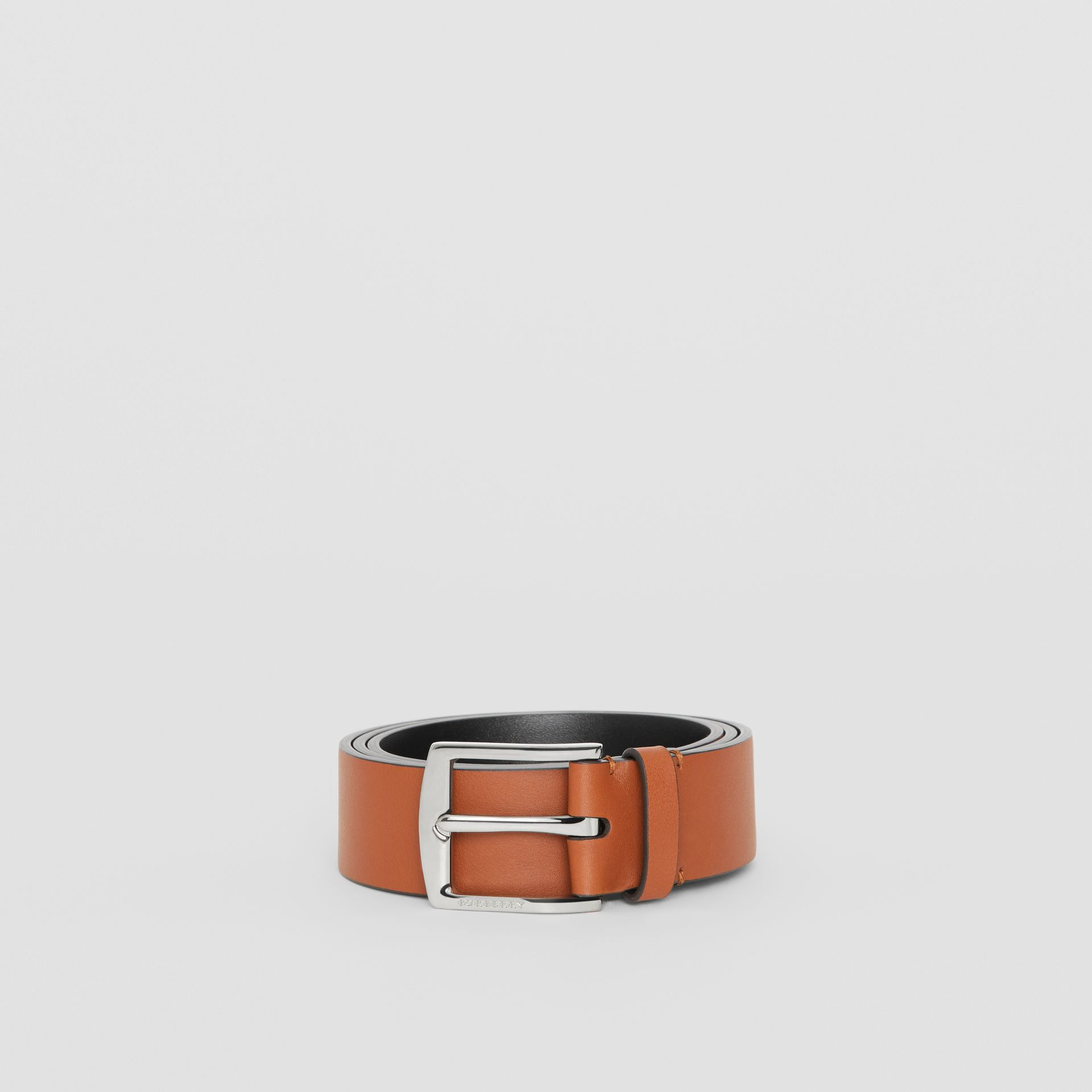 Embossed Crest Leather Belt in Chestnut Brown - Men | Burberry United States - gallery image 3