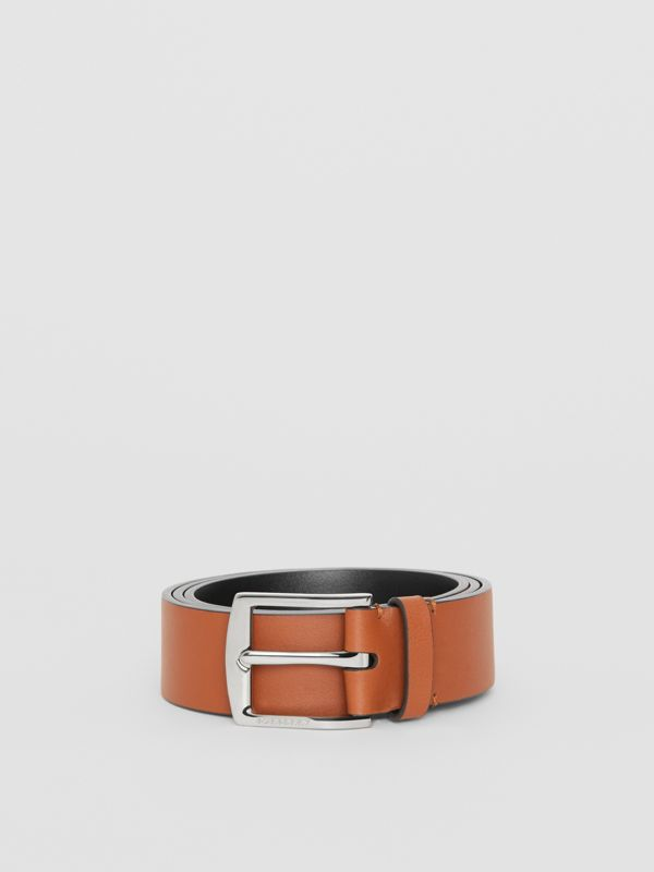 Embossed Crest Leather Belt in Chestnut Brown - Men | Burberry United States - cell image 3