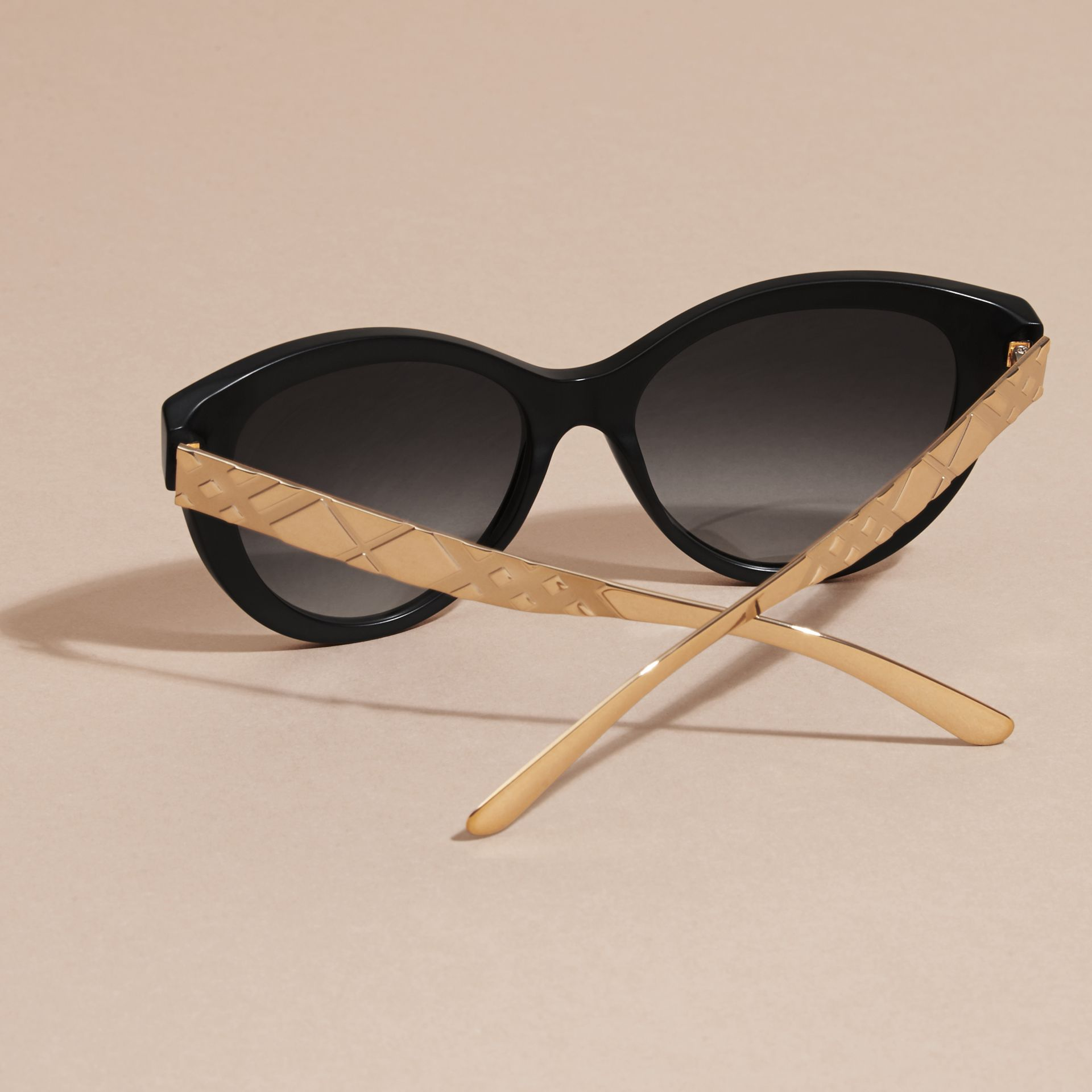 Black 3D Check Cat-eye Sunglasses Black - gallery image 5