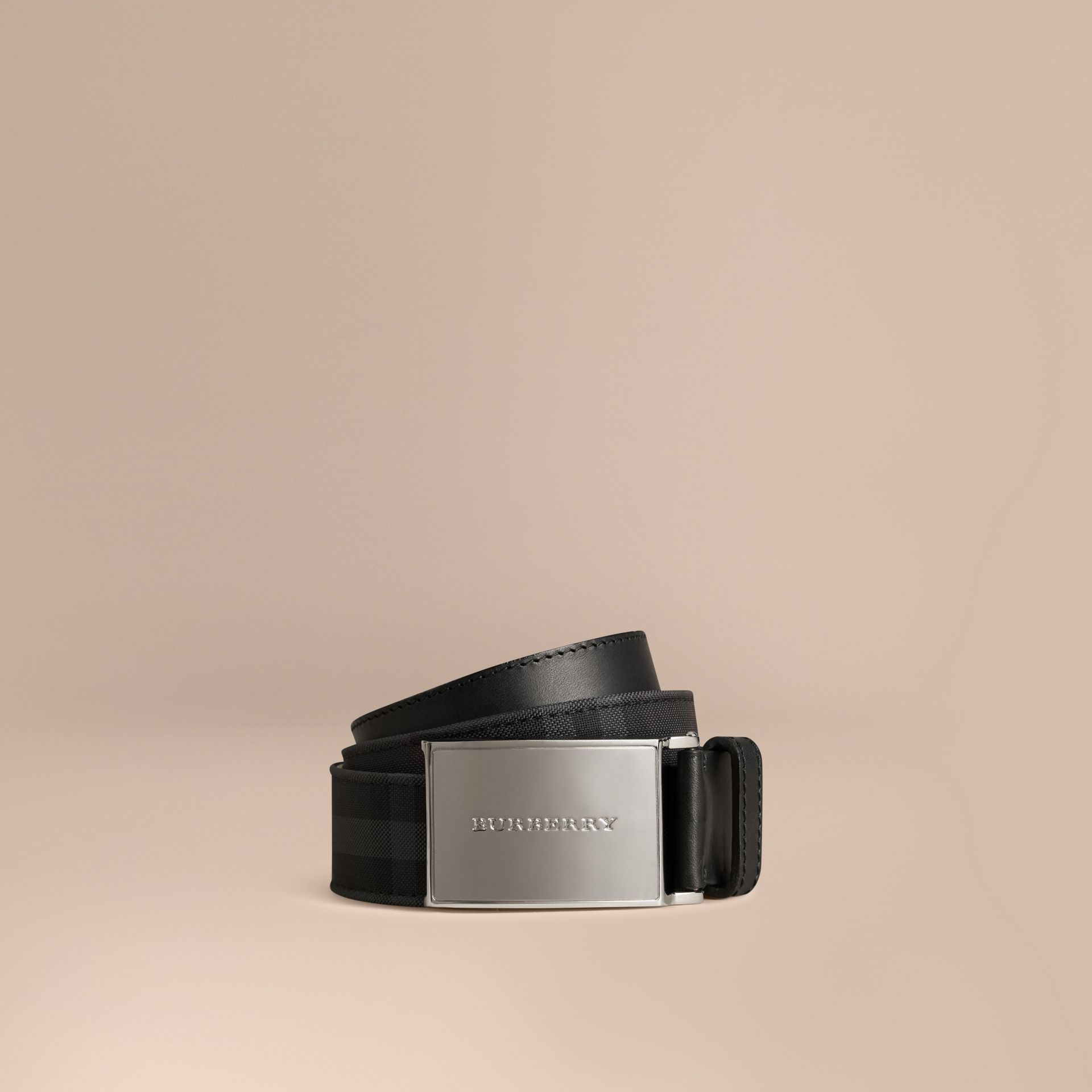 Charcoal/black Horseferry Check and Leather Belt - gallery image 1