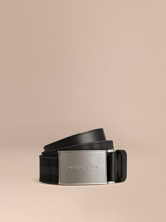 Horseferry Check and Leather Belt in Charcoal/black