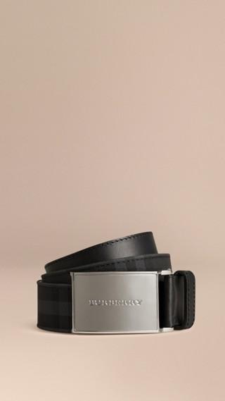 Ceinture à motif Horseferry check doublée de cuir