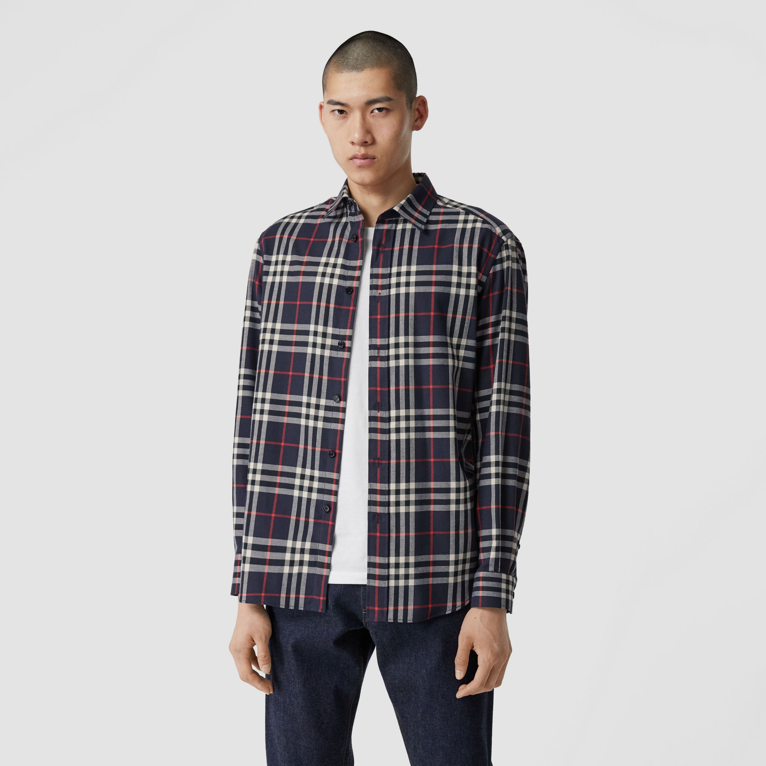 Vintage Check Cotton Flannel Shirt in Navy - Men | Burberry - 1