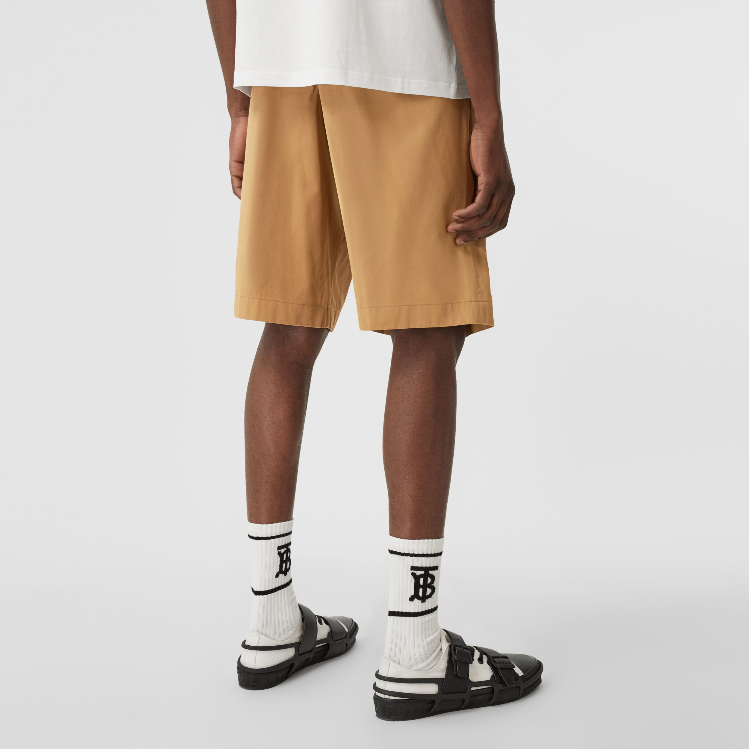 Icon Stripe Detail Cotton Twill Tailored Shorts in Camel - Men | Burberry - 3