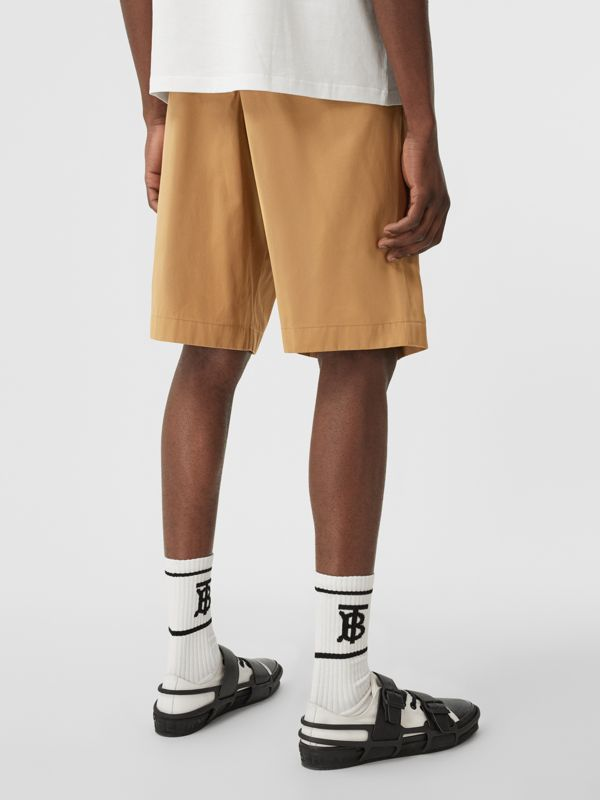 Icon Stripe Detail Cotton Twill Tailored Shorts in Camel - Men | Burberry United States - cell image 2