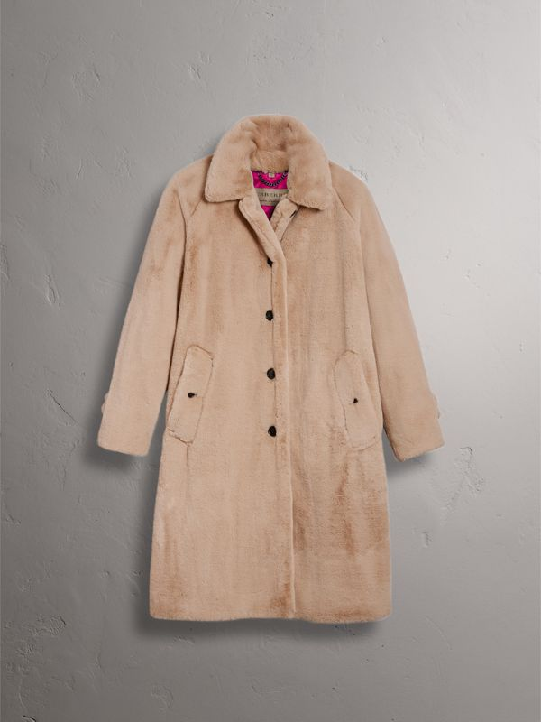 Faux Fur Single-breasted Car Coat in Nude - Women | Burberry - cell image 3