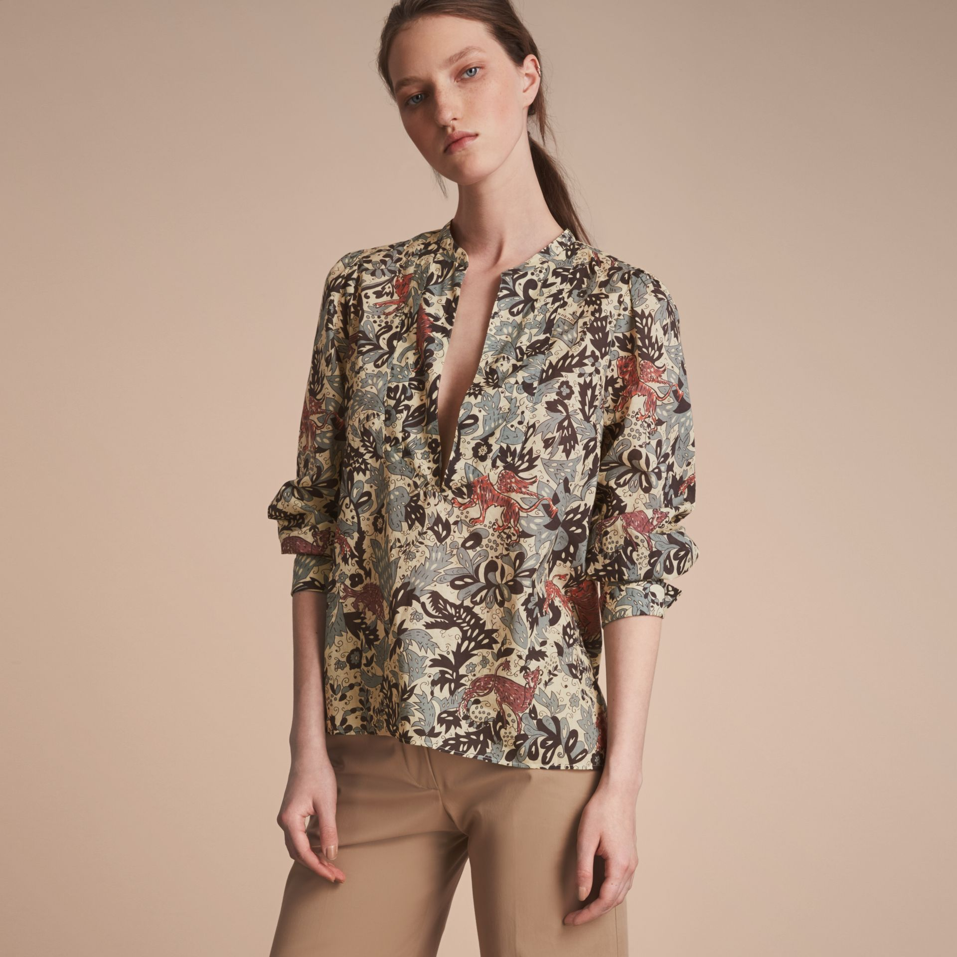 Beasts Print Cotton Tunic Shirt - Women | Burberry - gallery image 6