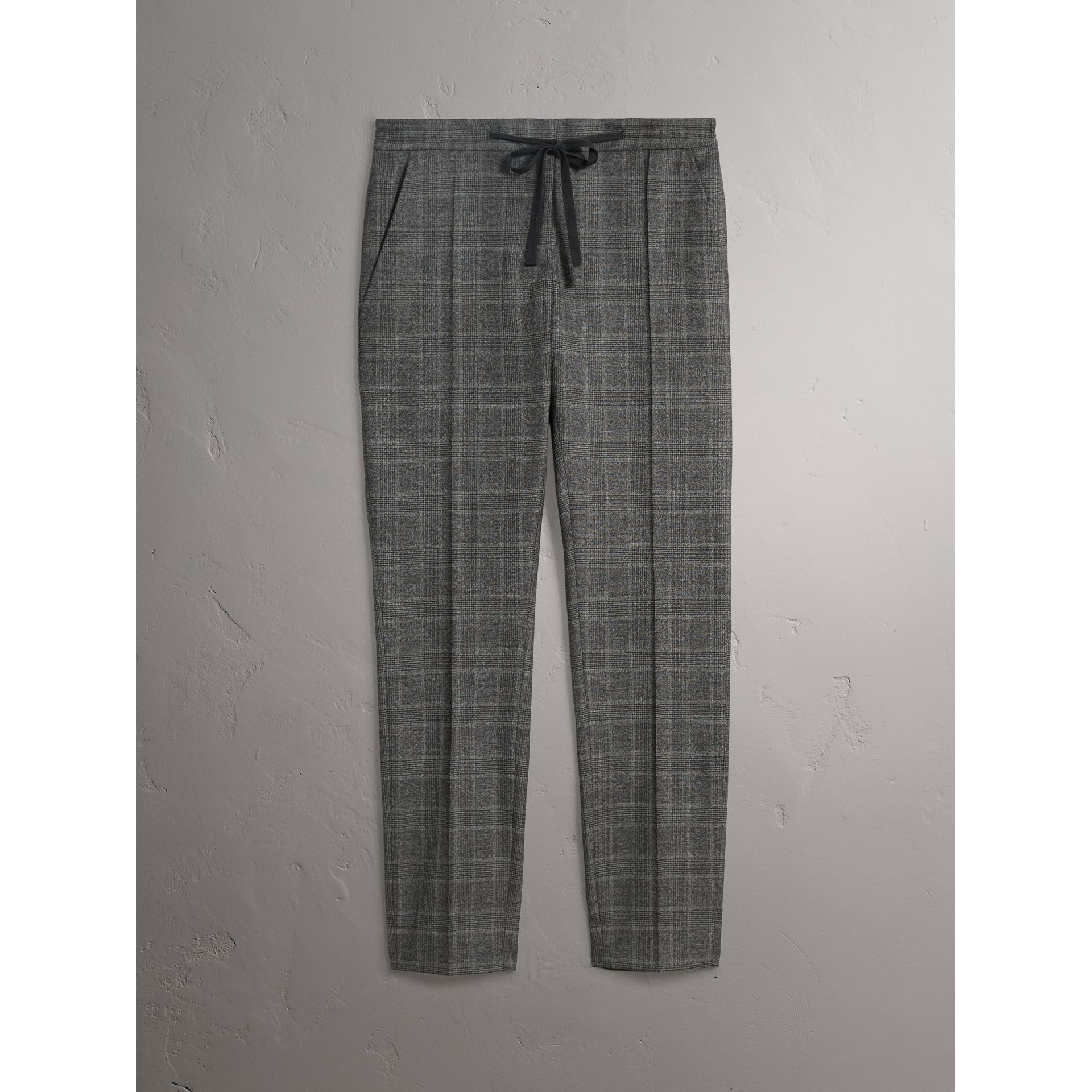 Prince of Wales Check Wool Blend Trousers in Dark Grey - Women | Burberry - gallery image 3