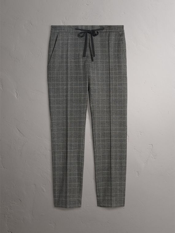 Prince of Wales Check Wool Blend Trousers in Dark Grey - Women | Burberry Canada - cell image 3