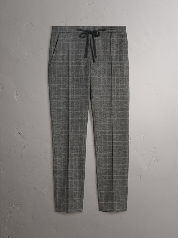 Prince of Wales Check Wool Blend Trousers in Dark Grey - Women | Burberry - cell image 3